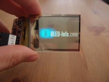 Transparent OLED showing OLED-Info logo