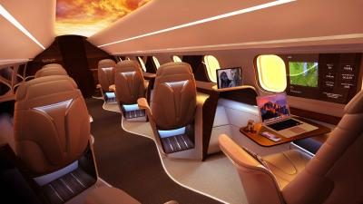 Aura aircraft OLED ceiling photo