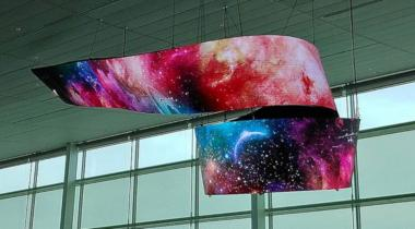 Curved OLED signage installation, Incheon Airport Terminal 2 photo