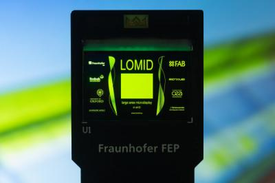 LOMID OLED microdisplay prototype (Fraunhofer FEP)
