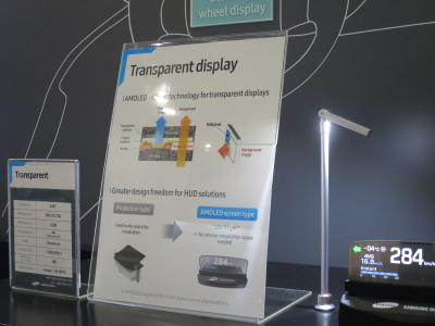 SDC 4.94'' transparent automotive OLED prototype and spec at SID 2018