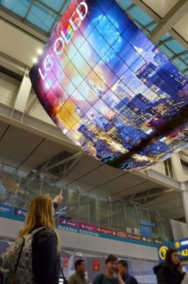LG 13x8m OLED TV installation Incheon airport