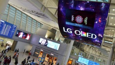 LG 13x8m OLED installation Incheon airport