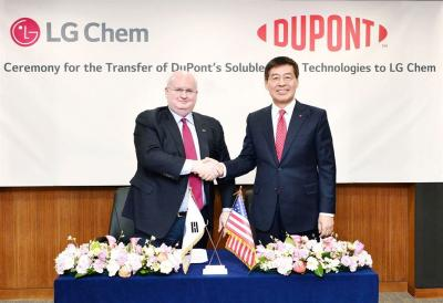 LG Chem and DuPont soluble OLED technologies acquisition ceremony
