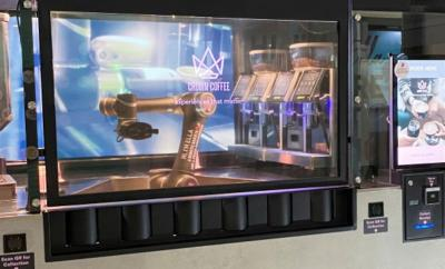 LG's Transparent OLED  display at Crown Coffee in Singapore
