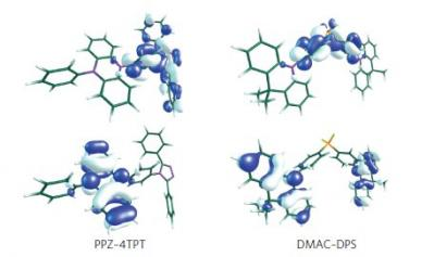 Blue TADF emitter molecules