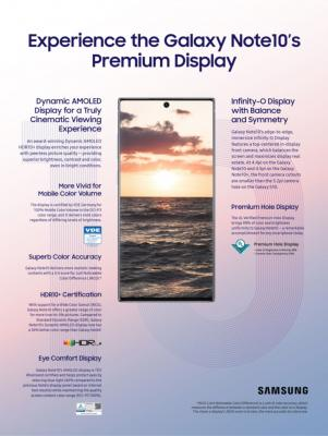 Samsung Galaxy Note 10 display infographic