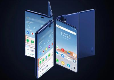 TCL/CSoT fold-and-roll OLED phone prototype photo