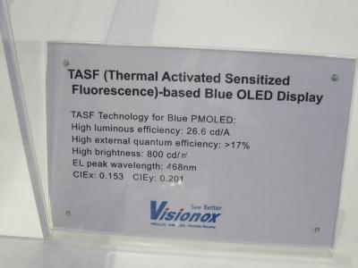 Visionox TASF specification at SID Displayweek 2018