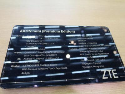 ZTE Axon Mini MWC specification photo