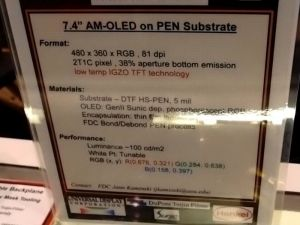 FDC's 7.4'' flexible OLED spec