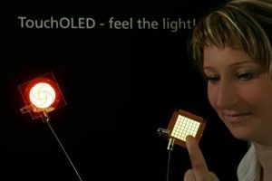 Touch-OLED fabricated by Fraunhofer IPMS/COMEDD
