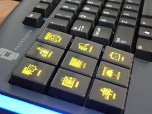 Unitedkeys OLED keyboard left closeup photo