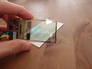 Transparent OLED showing OLED-Info on card
