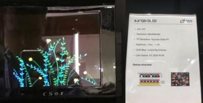 CSoT 6.6'' QD-OLED prototype photo (SID 2019)